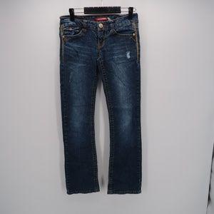 UNIONBAY Low Rise Distressed True Boot Denim Jeans